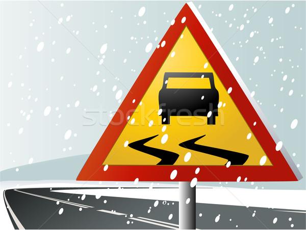 Winter road sign Stock photo © jagoda