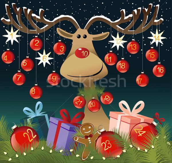 Advento calendário engraçado rena inverno diversão Foto stock © jagoda
