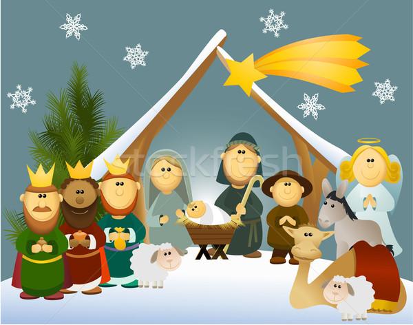 Cartoon nativity scene with holy family  Stock photo © jagoda