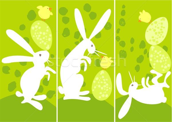 Pasen banners drie konijn ei kip Stockfoto © jagoda