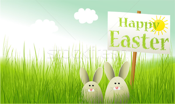 Пасху кролик трава Bunny праздник Cartoon Сток-фото © jagoda