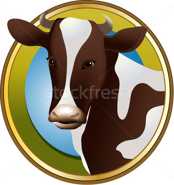 ファーム 牛 単純な ラベル 牛 肖像 ストックフォト © jagoda