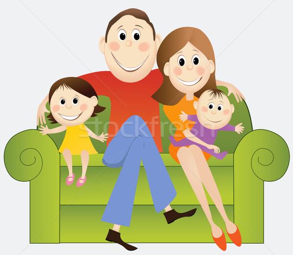 Desenho animado família feliz feliz pais crianças bebê Foto stock © jagoda
