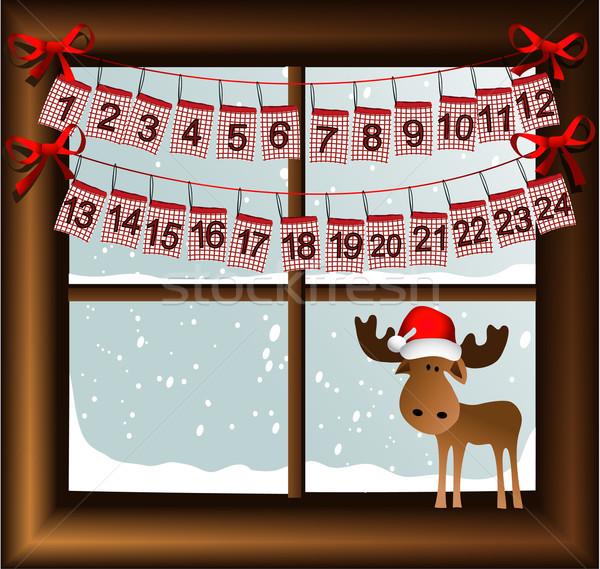 Advento calendário natal janela dom pano Foto stock © jagoda