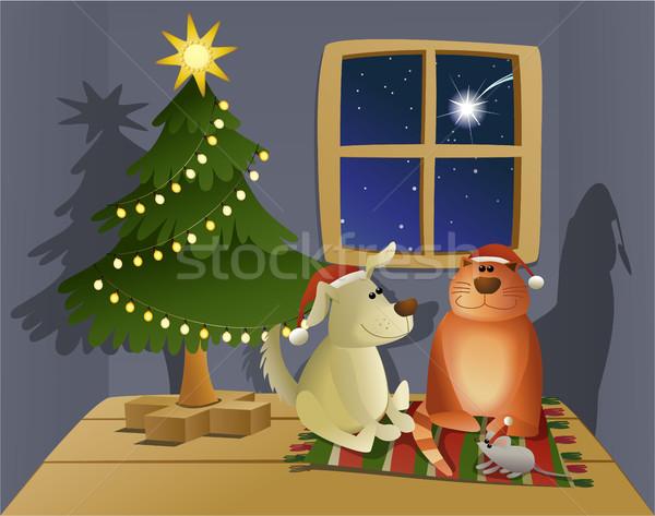 Christmas vriendelijk huisdieren vakantie dier gelukkig Stockfoto © jagoda