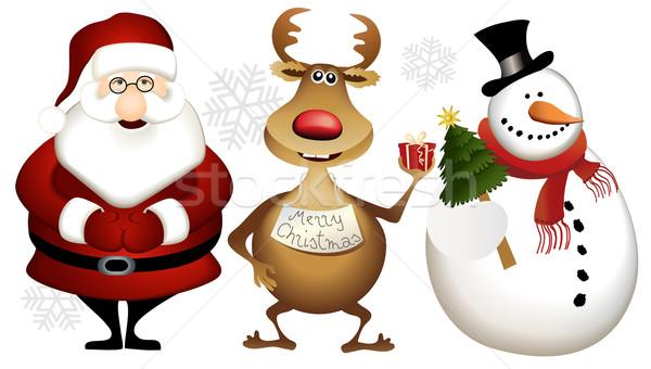 Natal desenho animado papai noel rena boneco de neve árvore Foto stock © jagoda