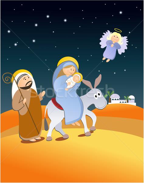 святой семьи бежать Рождества сцена ребенка Сток-фото © jagoda