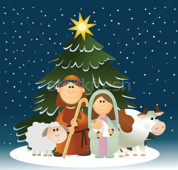 Holiday background with Holy Family Stock photo © jagoda