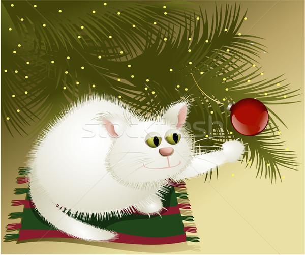 Fehér karácsony macska karácsonyfa háttér vicces Stock fotó © jagoda