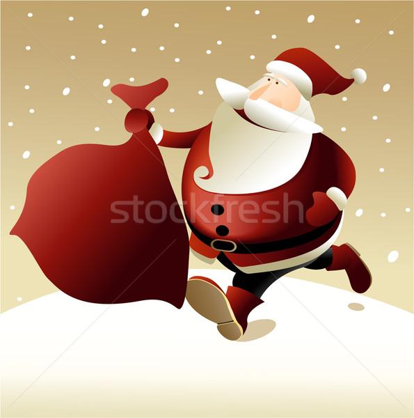 サンタクロース クリスマス 雪 背景 装飾 スノーフレーク ストックフォト © jagoda