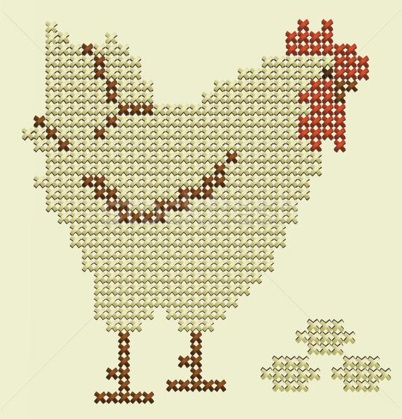 Пасху вышивка петух яйца продовольствие счастливым Сток-фото © jagoda