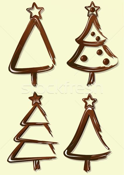 Zoete chocolade christmas bomen boom ontwerp Stockfoto © jagoda