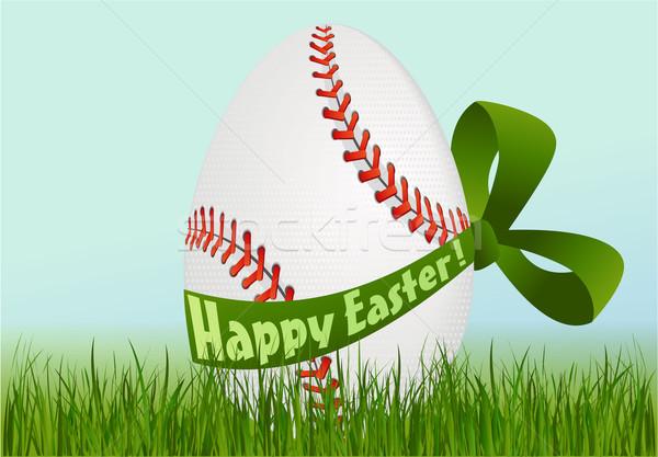 Beisebol ovo de páscoa férias esportes grama ovo Foto stock © jagoda