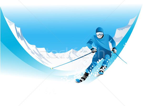 スキーヤー ウィンタースポーツ 空 スポーツ 風景 山 ストックフォト © jagoda