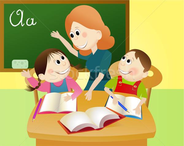Stok fotoğraf: Okula · geri · eğitim · genç · Öğrenciler · gülümseme · öğrenci