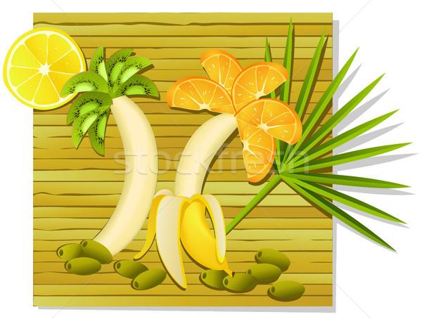 Egzotik meyve yemek yaz eğlence meyve Stok fotoğraf © jagoda