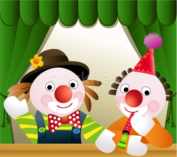ストックフォト: ピエロ · 友達 · 2 · 面白い · 誕生日パーティー · 幸せ