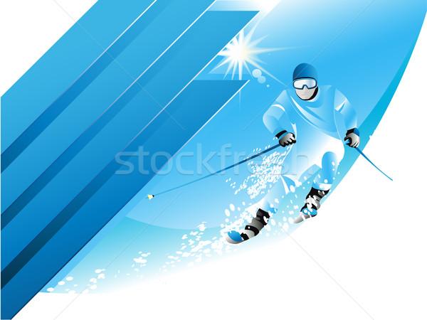 Esquiador céu esportes paisagem montanha Foto stock © jagoda