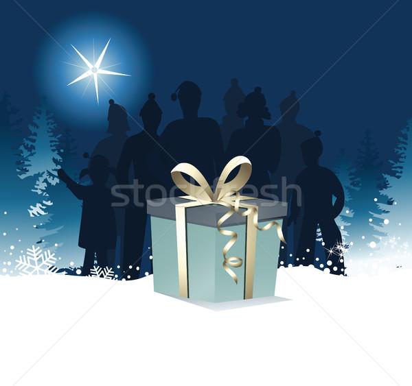 Noel hediye büyük kar alışveriş mavi Stok fotoğraf © jagoda