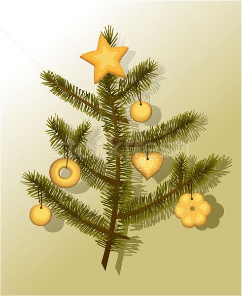 Słodkie choinka odznaczony ciasta drzewo ciasto Zdjęcia stock © jagoda