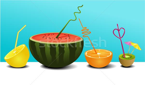 Sap ingesteld tropische sappig vruchten Stockfoto © jagoda