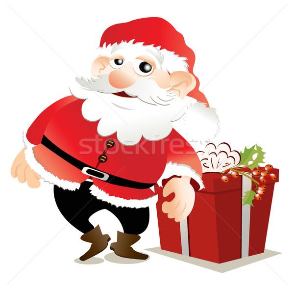 Cartoon Święty mikołaj prezenty wektora śniegu Zdjęcia stock © jagoda