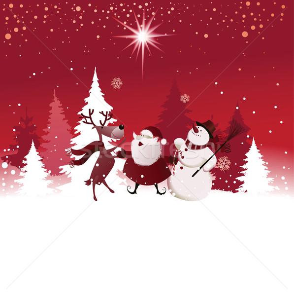 Engraçado natal papai noel rena boneco de neve céu Foto stock © jagoda