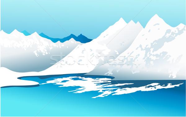 Stock fotó: Tél · hegyek · tájkép · magas · égbolt · sport
