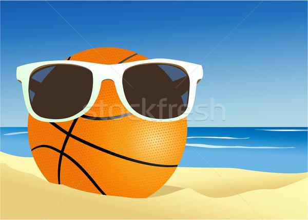 バスケットボール 海浜砂 休日 ホット スポーツ 水 ストックフォト © jagoda
