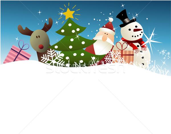 Natal engraçado brinquedos árvore paisagem magia Foto stock © jagoda