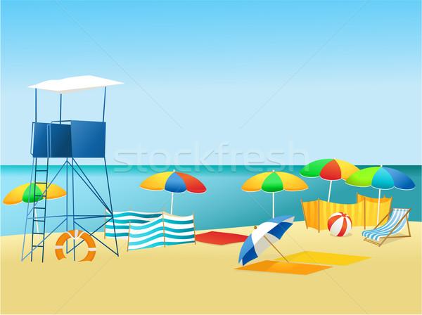 ビーチ 夏 風景 リラックス オブジェクト 空 ストックフォト © jagoda