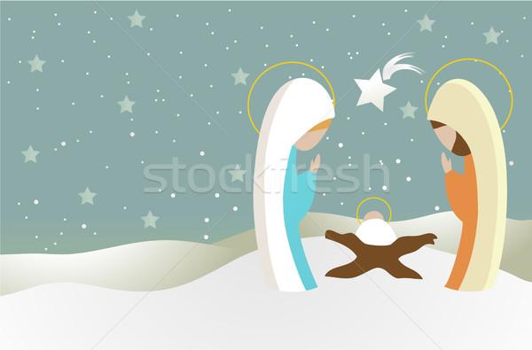 Nativity scene with Holy Family Stock photo © jagoda