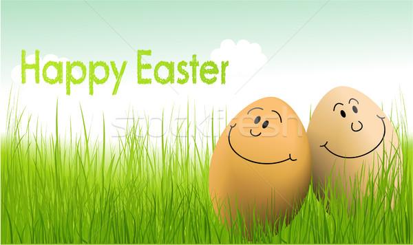 смешные пасхальных яиц праздник весны трава фон Сток-фото © jagoda
