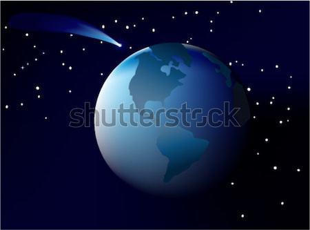 синий комета Flying аннотация дизайна пространстве Сток-фото © jagoda