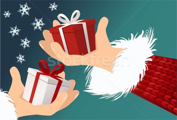 ストックフォト: クリスマス · 贈り物 · 現在 · リボン · お祝い · 弓