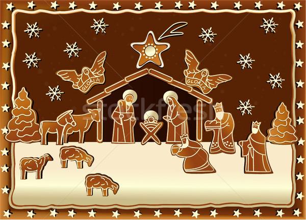 Gingerbread Nativity scene Stock photo © jagoda