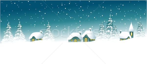 Inverno desenho animado casas feliz noite Foto stock © jagoda