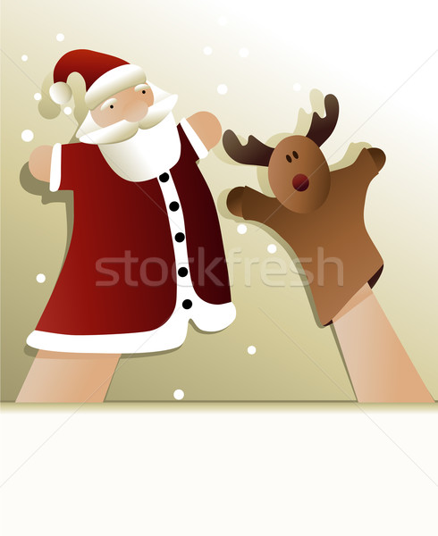 Natal fantoche mostrar papai noel rena fundo Foto stock © jagoda