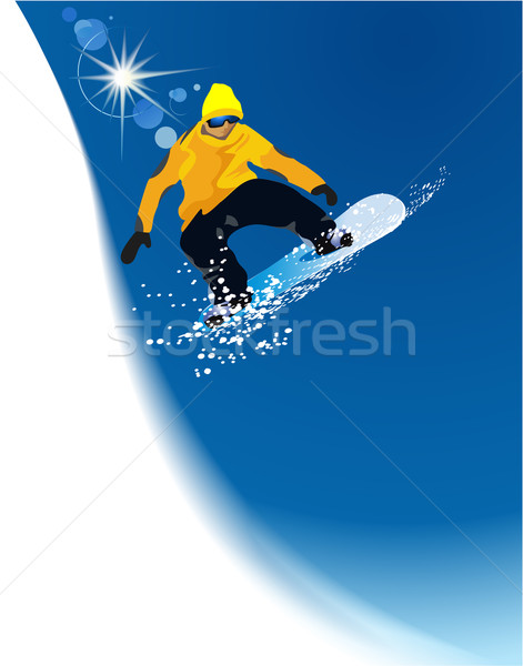 Stockfoto: Wintersport · springen · sport · licht · sneeuw