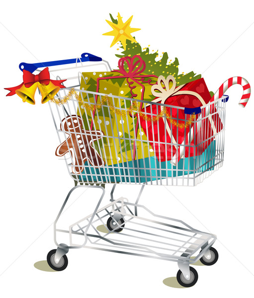 Christmas shopping cart Stock photo © jagoda