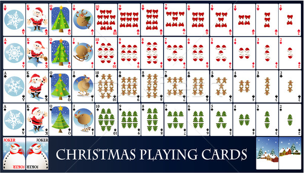 Natal cartas de jogar vetor completo conjunto árvore Foto stock © jagoda