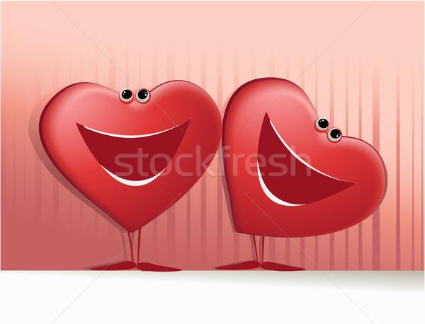 Feliz corações desenho animado bonitinho sorridente Foto stock © jagoda