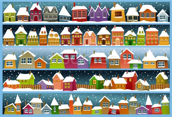 ストックフォト: 冬 · バナー · 漫画 · 住宅 · ホーム · 雪