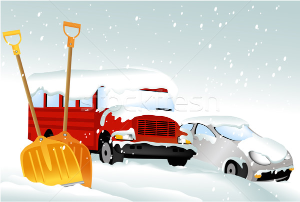 Cars under snow Stock photo © jagoda