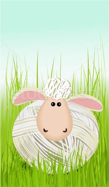 Pasen grappig schapen gras natuur ontwerp Stockfoto © jagoda