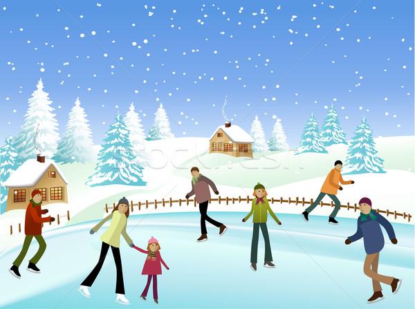 Winter skaters Stock photo © jagoda