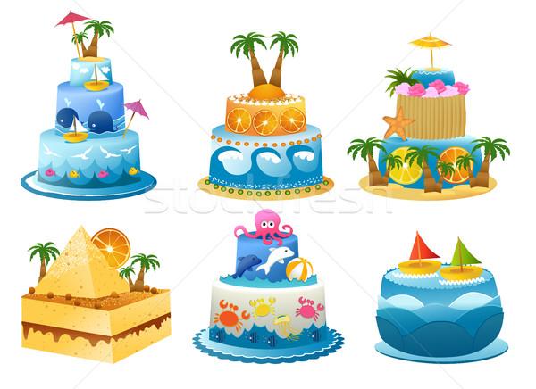 ünnep születésnapi torta szett hat vicces születésnap Stock fotó © jagoda