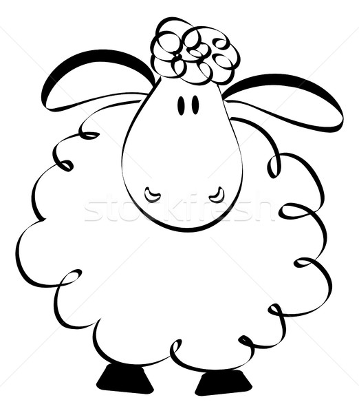 Funny sheep drawing Stock photo © jagoda