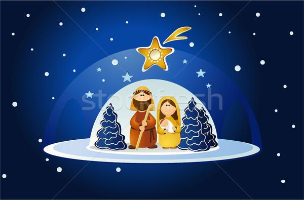 Scena święty rodziny christmas baby streszczenie Zdjęcia stock © jagoda