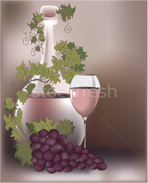 Vinho fruto vidro garrafa planta vetor Foto stock © jagoda